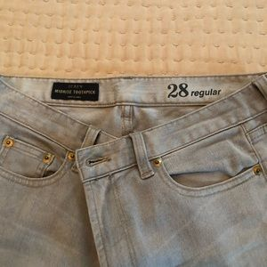 J Crew mid- rise toothpick jean, grey, Size 28